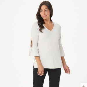 Susan Graver Knit 3/4-Sleeve Top with Ring Detail